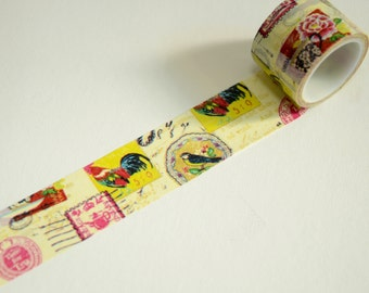 1 Roll of Japanese Washi Tape Roll- Postage Seals