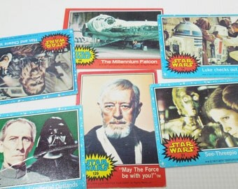 Star Wars Trading Cards Set of 5. Episode IV:  A New Hope. Circa 1977. These ARE the Cards You Are Looking For. For Jedi and Sith Alike.