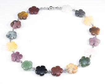 flower gemstone necklace - colorful stone jewelry -  handmade gemstone jewellery - stainless steel jewelry - rainbow gemstone jewelry