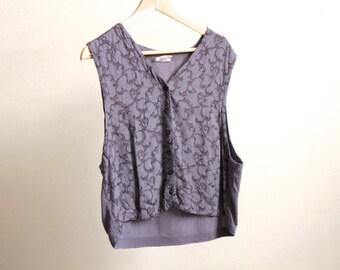 GRUNGE 90s purple baroque club kid tank top vintage vest