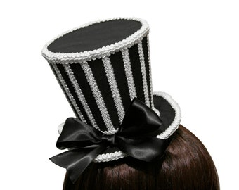 Black and White Striped Mini Top Hat - Made to Order