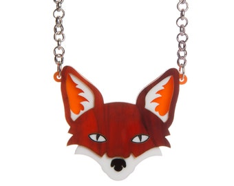 Fox necklace - laser cut acrylic
