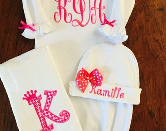 Personalized Baby Girls Gown-  Burp cloth, hat baby pink Monogram- So sweet.