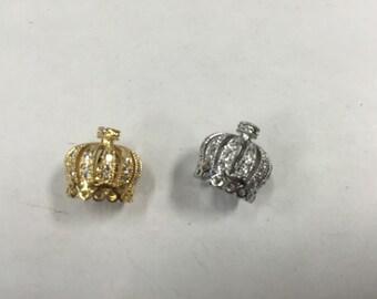 13x14 crown pendant CZ bead, 1 bead