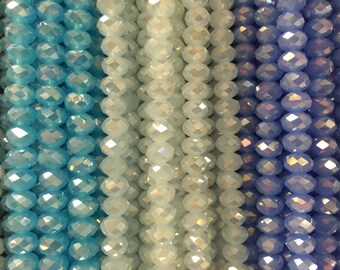 8mm rondelle crystal glass , faceted, 42 beads