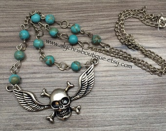 Skull with Wing Pendant Necklace, Turquenite necklace