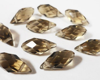 Briolette Crystal Beads 12x6mm (6x12mm) Khaki (Brown-Grey) Faceted Chinese Crystal Glass Teardrop Drop Crystal Beads 10 Loose Beads per Pack