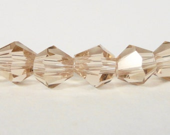 Bicone Crystal Beads 4mm Light Colorado Topaz (Tan) Faceted Small Chinese Crystal Glass Beads for Jewelry Making 100 Loose Beads per Pack