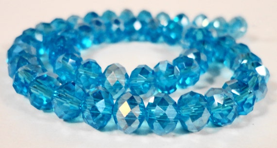 "Rondelle Crystal Beads 6x4mm (4x6mm) Aqua Blue AB Faceted Chinese Crystal Glass Beads for Jewelry Making on a 9"" Strand with 50 Beads"