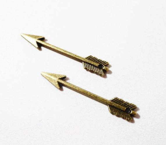 50pcs Bronze Arrow Charms 29x5mm Antique Brass Arrow Charms, Bronze Arrow Pendants, Weapon Charms Wholesale Craft Supplies Bulk Metal Charms