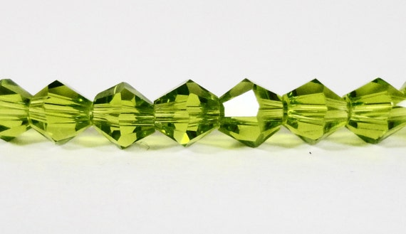 Bicone Crystal Beads 4mm Deep Olivine Olive Green Small Faceted Chinese Crystal Glass Beads for Jewelry Making 100 Loose Beads per Package
