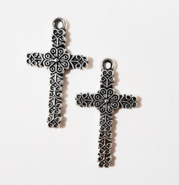 Silver Cross Charms 26x14mm Antique Tibetan Silver Metal Religious Charms, Cross Pendant, Catholic Charms, Jewelry Making Supplies, 10pc