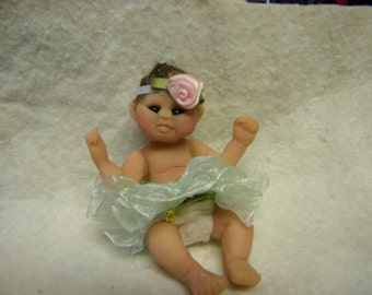 OOAK baby doll, clay baby, clay doll, miniature doll, miniature baby, ballerina baby doll