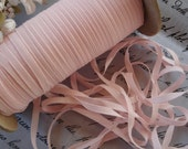 "4y Tiny Vintage French 1/8"" Soft Pink Rayon Taffeta Ribbon Trim Hat Doll Millinery Flower Ribbonwork Bonnet Sewing Tag Shabby Cottage"