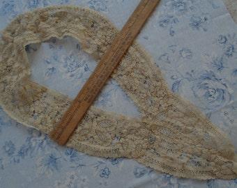 Antique French Alencon Floral Flowers Tape Lace Collar Cotton Lace Intricate Pattern Victorian Dress Costume Doll Trim Flapper Boudoir