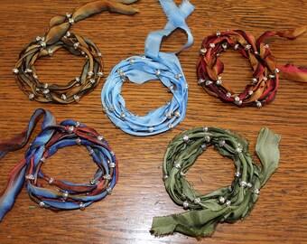 Silk Wrap Ribbon Bracelets
