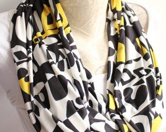 Handwriting Pattern Infinity scarf , Yellow and Black Jersey Scarf, Letter Scarf, Fashion Accessories , Circle scarf, Long Scarf,