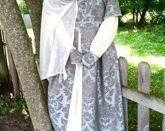 Women's Renaissance Gown, Teen Renaissance Costume, Fantasy Costume, LARP costume, Court Gown Chemise, French Hood, size small medium large