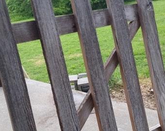 Distressed wood garden gate