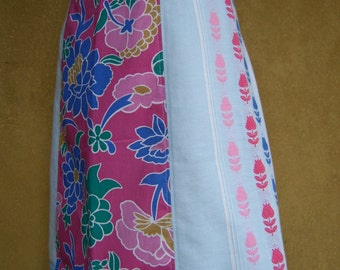 Vintage table cloth A-line skirt, flowers skirt, upcycled skirt, cotton skirt, light blue pink cobalt, size Medium