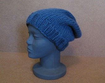 Blue Slouchy Hat, Chunky Knit Slouchy Hat
