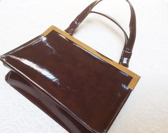 1960s Ladies Handbag, Vintage Purse, Dark Brown Patent with Gold Metal Accents, Excellent Condition