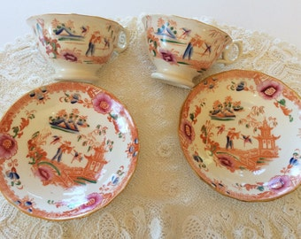 Antique China Tea Cups, Zachariah Boyle England, Asian Theme in Unusual Colours, Early 1800s