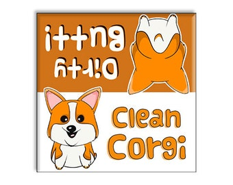 Clean Dirty Dishwasher Magnet Funny Corgi Butt 2.5 x 2.5 Inches