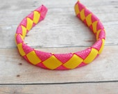 """Pink and Yellow woven headband for American Girl and other 18"""" dolls"""
