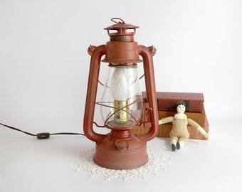 Vintage Dietz American Camper Lantern, Red Lantern, Electric Dietz Lantern