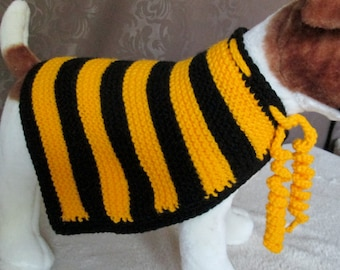 Custom Knit Dog Bumblebee Cape - SMALL