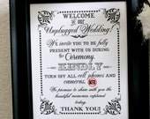 Unplugged Wedding Ceremony Only- Wedding Print / Sign - Ceremony Sign - Single Sheet (Style: UNPLUGGED CEREMONY)