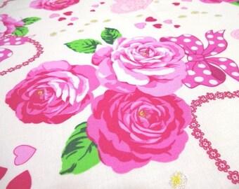 SALE Japanese Fabric Large Flower Rose Hear Ribbon OffWhite Fat Quarter