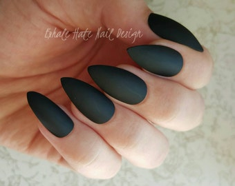Matte / Glossy Black Press on Fake Nails - Stiletto, Square, Oval, Coffin/Ballerina
