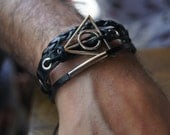 FREE SHIPPING - Deathly sign  Men's Bracelet, Leather Men Bracelet, Men's Leather Bracelet, bracelet. leather illuminati