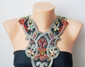 Unique Satin Bib Necklace Ethnic Collar Necklace, Tribal necklace, Statement Necklace, Boho Necklace, FREE SHIP, Beaded collar