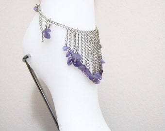 Unique Genuine Amethyst Chain Anklet - Gemstone Anklet - Elegant Anklet,gift for Her,Boot Bling Anklet ,