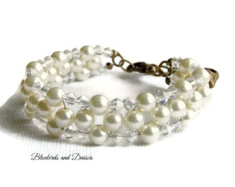 Pearl Bracelet, Bridal Jewellery, Ivory Pearl Bracelet, Wedding Jewellery, Bridesmaids Jewellery, Vintage Style, Gifts for Her