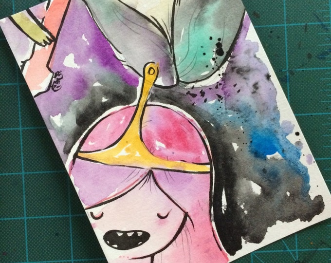 """Original Watercolor Painting """"Princess Bubblegum and Marceline Floating"""", 5x7 inch original drawing/painting. Adventure Time inspired. 1/1 a"""