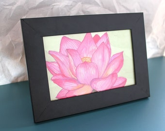 "Pink Lotus 4x6"" Original Watercolor Painting"