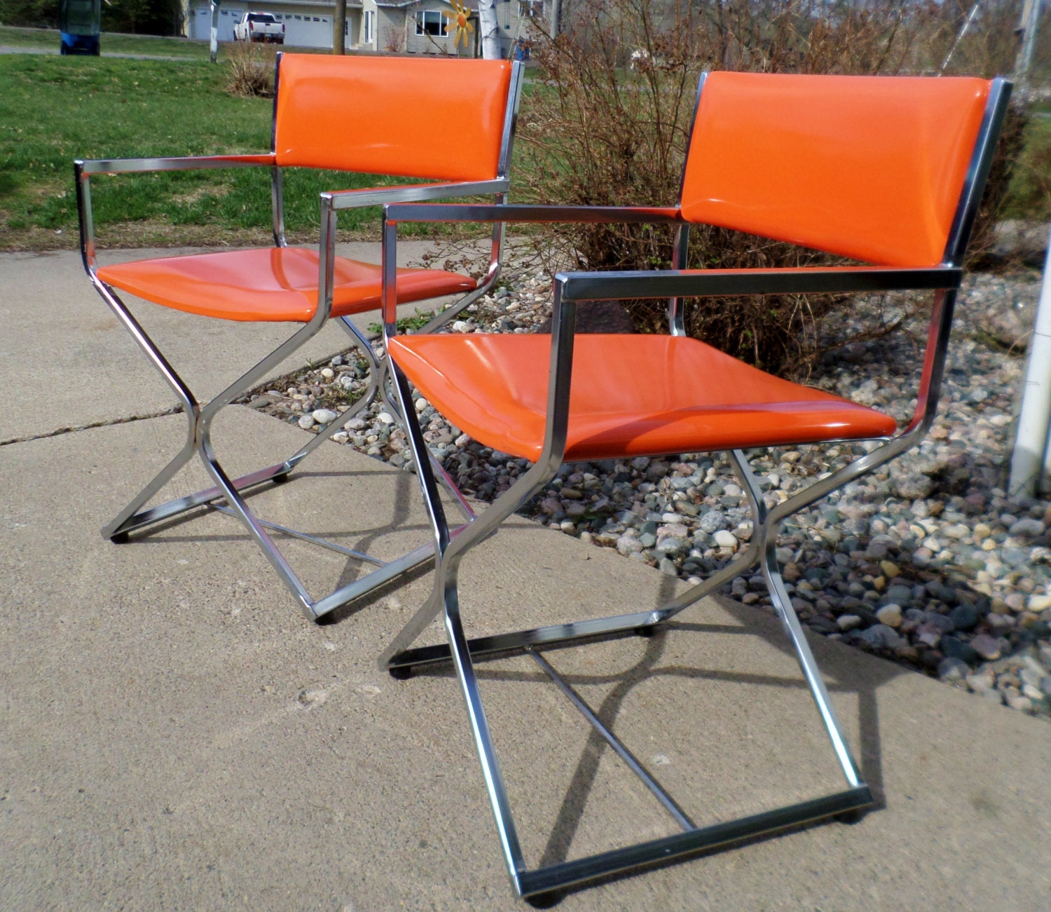 Vintage Director S Chairs Chrome And Orange By