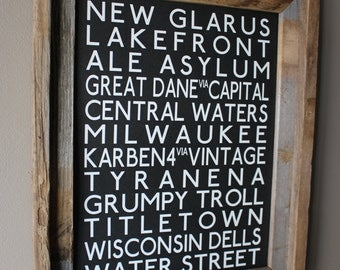 Breweries of Wisconsin Transit Art (Black) - Unframed