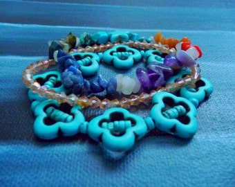 Intricate Turquoise Chakra with Crystals and Assorted stones Trio Bracelets
