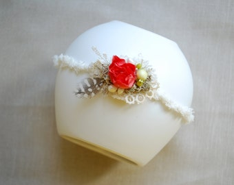 Coral Red Rose Flower Baby Headband, Newborn Photo Prop, Flower Girl, Baby Tieback, Girl Hair Piece, Woodland Wedding, Baby Headband