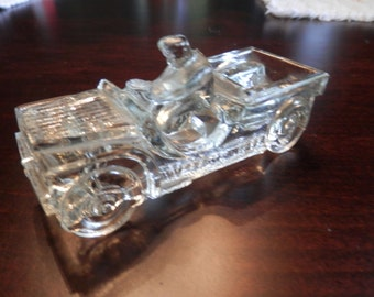 Glass Willys Jeep Candy Pellet Container - J.H. Millstein Jeannette, PA