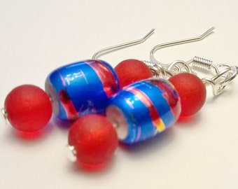 Red Recycled Glass Beads w/ Striped Blue Glass Dangle Earrings