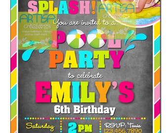 Pool Party Invitation, Pool Party Birthday Invitation, Girl Pool Birthday, Summer Birthday, Colorful Summer Pool Birthday, Splish Splash Inv