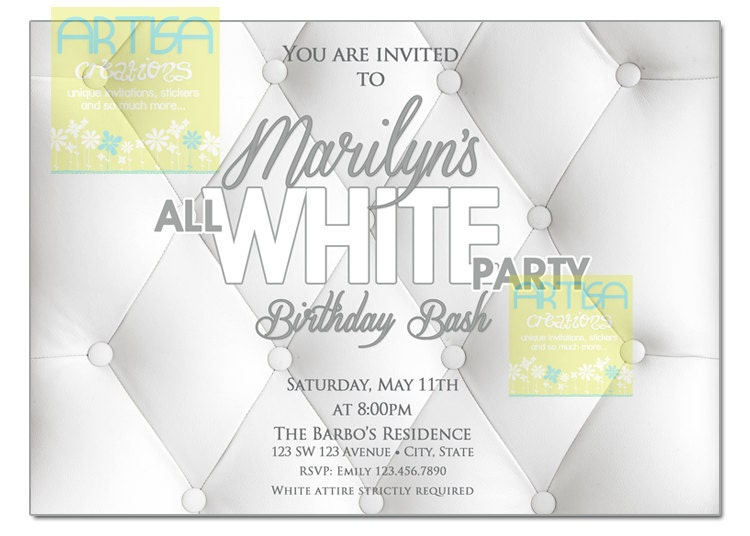 All White Party Invitation White Party Invitation Summer – All White Party Invitation