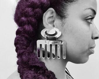 Duafe - Huge Adinkra Mirrored Earrings