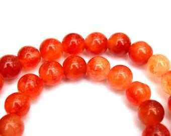 8 mm Fire Opal Jade Round  Beads